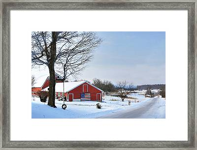 Framed Print featuring the digital art Americana Barn In Vermont by Sharon Batdorf