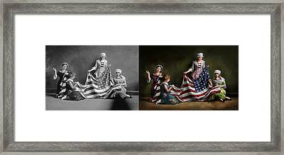 Americana - Flag - Birth Of The American Flag 1915 - Side By Side Framed Print by Mike Savad