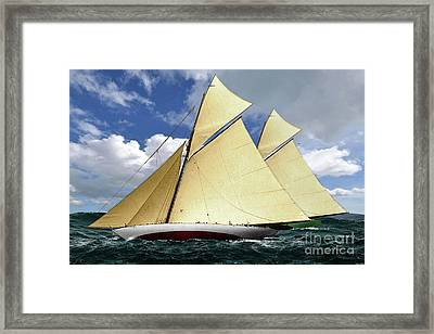 1920 America's Cup - Resolute Vs Shamrock Iv Schooners Marine Art Framed Print by Thomas Pollart