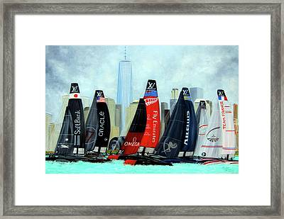 America's Cup New York City Framed Print by Leonardo Ruggieri