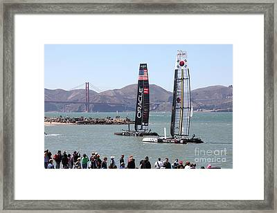 America's Cup Racing Sailboats In The San Francisco Bay - 5d18253 Framed Print by Wingsdomain Art and Photography