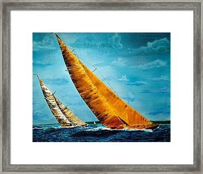 Americas Cup Sailboat Race Framed Print by Gregory Allen Page