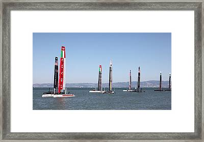 America's Cup Sailboats In San Francisco - 5d18205 Framed Print by Wingsdomain Art and Photography