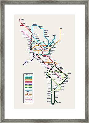 Americas Metro Map Framed Print by Michael Tompsett