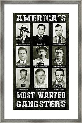 Americas Most Wanted Gangsters Framed Print by Jon Neidert