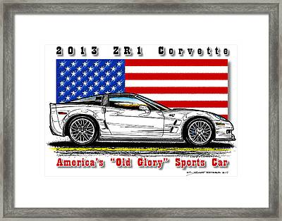 America's Old Glory 2013 Zr1 Corvette Framed Print