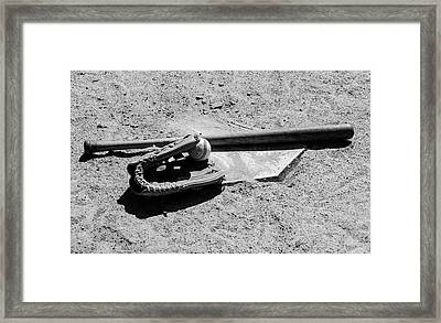America's Pastime In Black And White Framed Print by Bill Cannon
