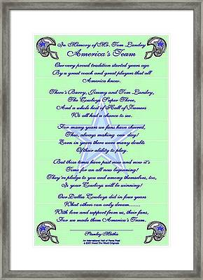 Framed Print featuring the digital art America's Team Poetry Art  by Stanley Mathis