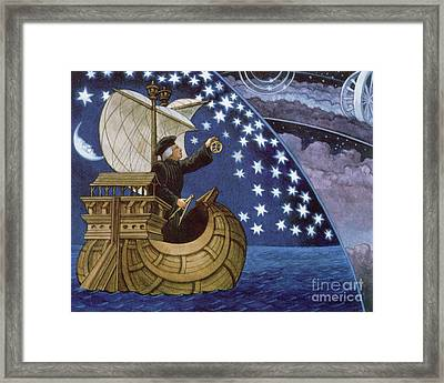 Amerigo Vespucci Navigating By The Stars On His 3rd Voyage Framed Print by French School