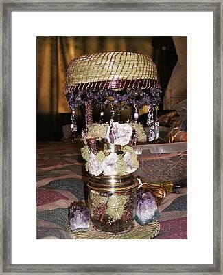 Amethyist Pine Needle Lamp Framed Print by Russell  Barton