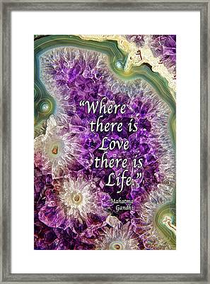 Framed Print featuring the photograph Amethyst Geode - Love by ABeautifulSky Photography