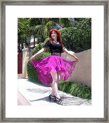 Ameynra Fashion, Pink-black Mood. Model Sofia Metal Queen Framed Print by Sofia Metal Queen