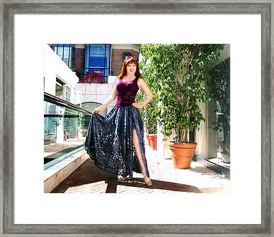 Ameynra Fashion. Silver Lace Skirt Framed Print by Sofia Metal Queen