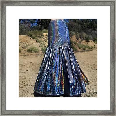 Ameynra Fashion. Silver Rainbow Siren Skirt Framed Print