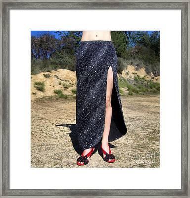 Ameynra Fashion Sparkling Skirt Framed Print by Sofia Metal Queen