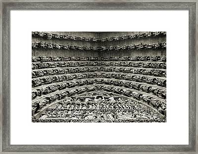 Amiens Cathedral - Tympanum Of Central West Portal Bw Framed Print by RicardMN Photography