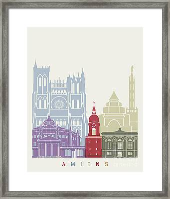 Amiens Skyline Poster Framed Print