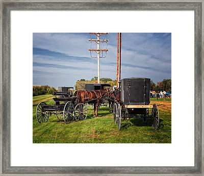 Amish At The Auction Framed Print