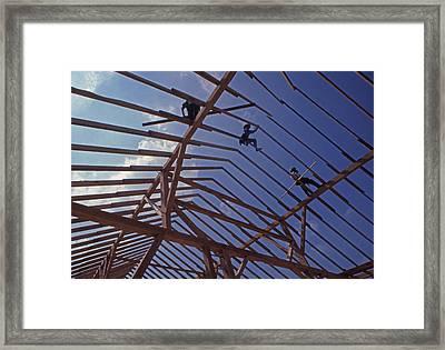 Amish Barnraising Framed Print by Blair Seitz