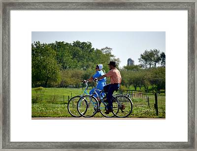 Amish Bike Ride Framed Print by Jeffrey Platt