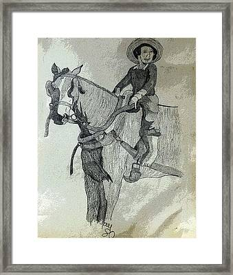 Amish Boy On A Horse Framed Print by Joyce Wasser