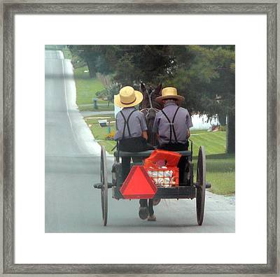 Amish Boys On A Ride Framed Print by Lori Seaman