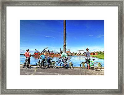 Amish Boys Watching Construction Across The Bay Framed Print by Geraldine Scull
