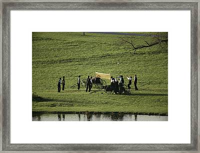 Amish Buggies Anchor A Volleyball Net Framed Print by Ira Block