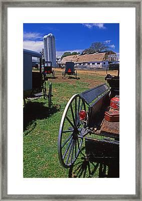 Amish Buggies Barnraising Framed Print by Blair Seitz