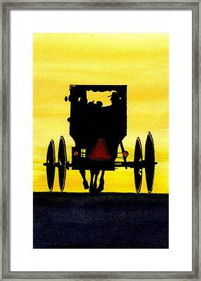 Amish Buggy At Dusk Framed Print by Michael Vigliotti
