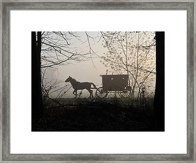 Amish Buggy Foggy Sunday Framed Print