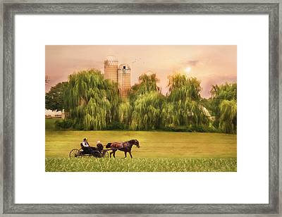 Amish Buggy Ride Framed Print by Lori Deiter