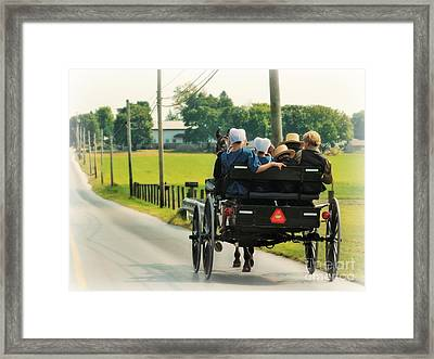 Amish Family Travelling With Horse And Buggy Framed Print by Beth Ferris Sale