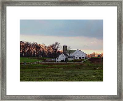 Amish Farm At Dusk Framed Print