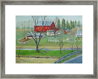 Framed Print featuring the painting Amish Farm by Oz Freedgood