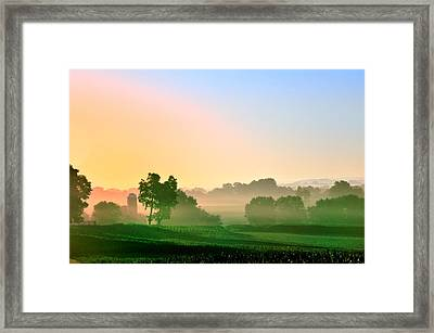 Amish Farm Sunrise Framed Print by Bill Cannon