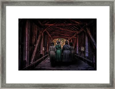 Amish Girls In Covered Bridge Framed Print