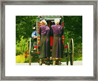 Amish Girls On Roller Blades Framed Print
