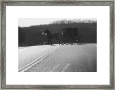 Amish Horse And Buggy In Winter Framed Print by Dan Sproul