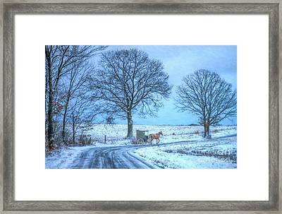 Amish Horse And Buggy Winter Ride Framed Print
