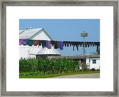 Amish Laundry Framed Print by Lori Seaman