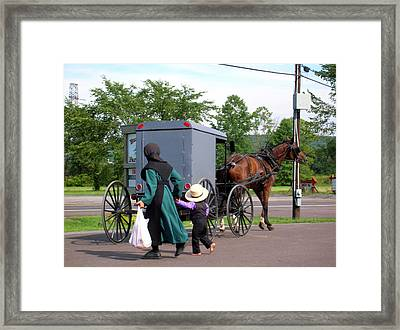 Amish Mother And Son Framed Print by George Jones