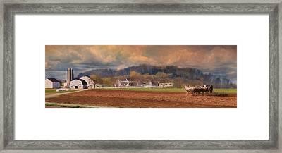 Amish Plow Framed Print by Lori Deiter