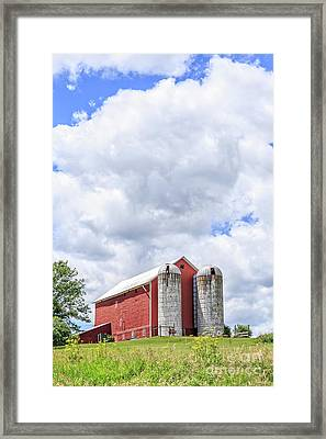 Amish Red Barn And Silos Framed Print