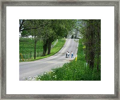 Amish Roller Skating Framed Print by Joyce Kimble Smith