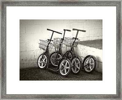 Amish Scooters In Black And White Framed Print