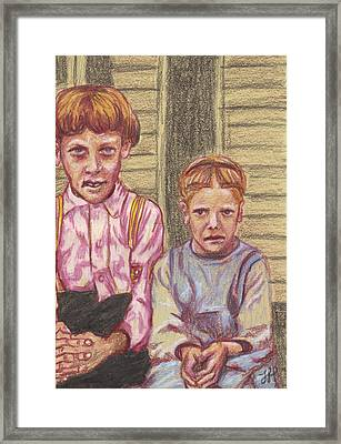 Amish Siblings Framed Print by Jean Haynes