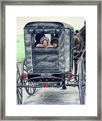 Amish Wagon Framed Print by Sam Vega