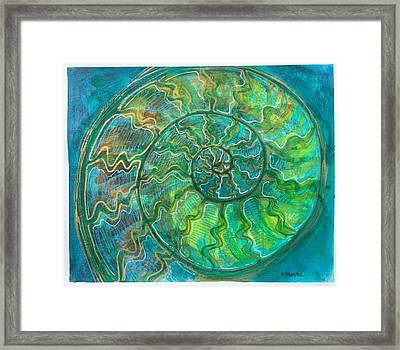 Framed Print featuring the painting Ammonite Number One by Laurie Maves ART
