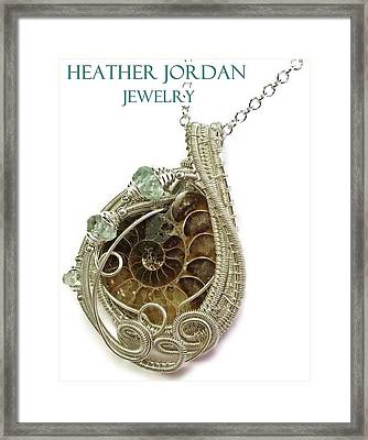 Ammonite Wire-wrapped Pendant In Sterling Silver With Aquamarine Fapss4 Framed Print